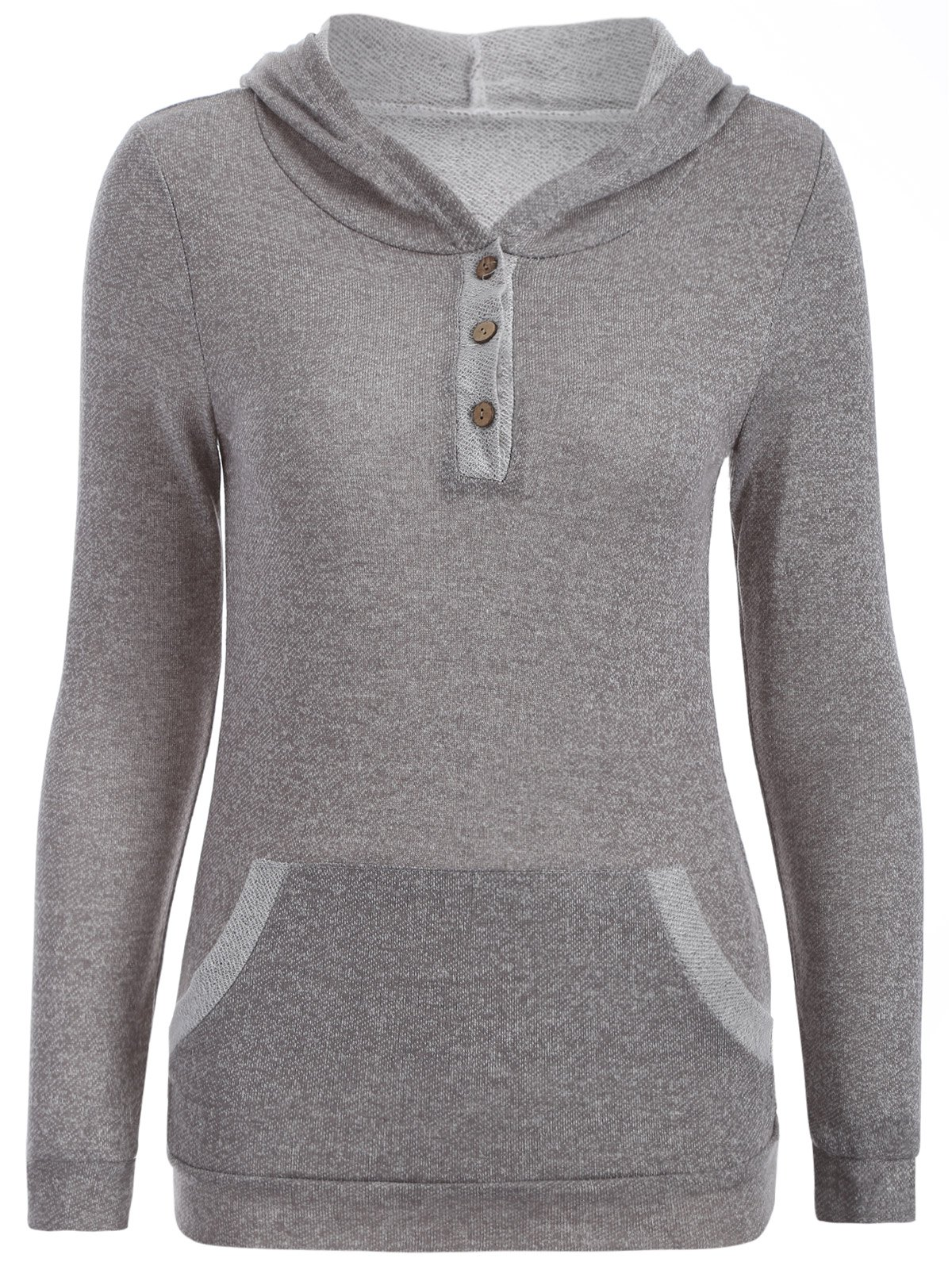 Discount Half Button Hoodie With Pocket