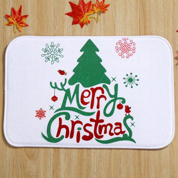 Merry Christmas Tree Antiskid Soft Absorbent Doormat CarpetHOME<br><br>Color: WHITE; Type: Carpet; Material: Fleece Fabric; Style: Contemporary; Shapes: Rectangle; Size(CM): 40*60; Weight: 0.480kg; Package Contents: 1 x Carpet;