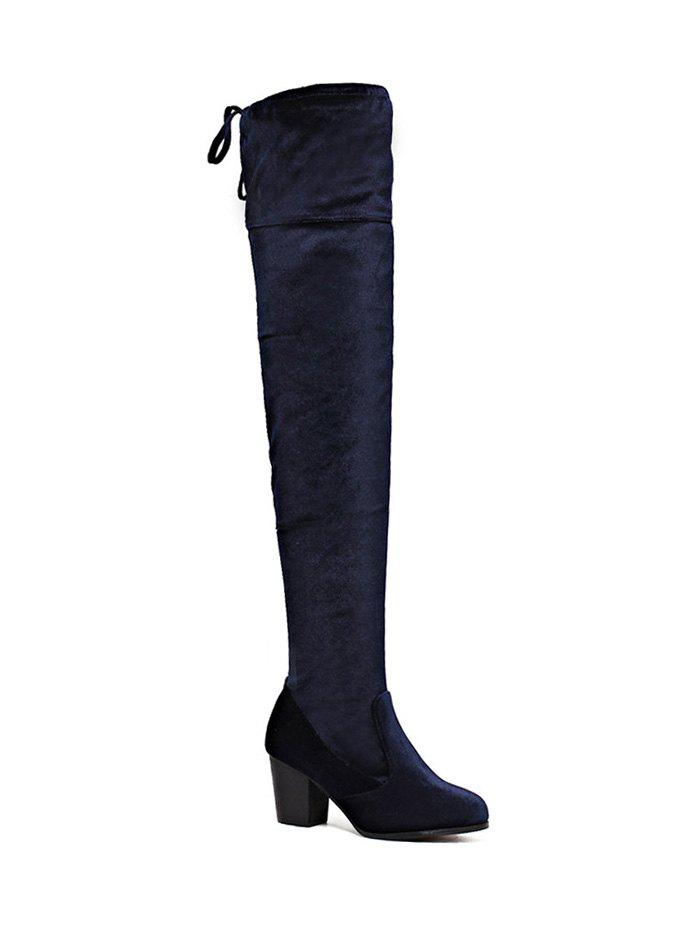 Fashion Zip Lace Up Chunky Heel Thigh Boots