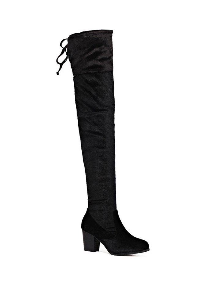 Outfit Zip Lace Up Chunky Heel Thigh Boots