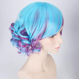 Double Color Short Side Bang Curly Cosplay Synthetic Wig - BLUE AND RED