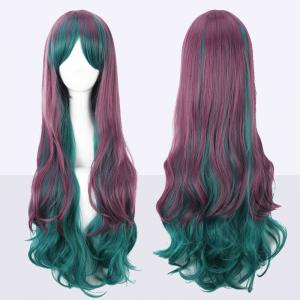 Long Side Bang Bouffant Ombre Color Wavy Cosplay Synthetic Wig