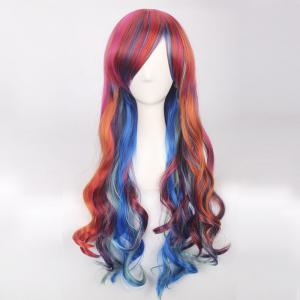 Colorful Long Side Bang Wavy Cosplay Synthetic Wig -