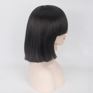 Double Color Short Full Bang Straight Sia Cosplay Synthetic Wig - YELLOW AND BLACK