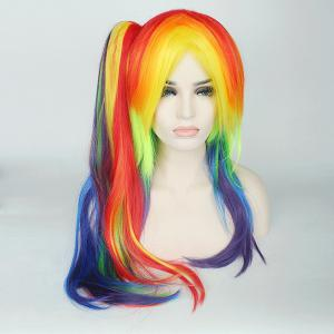 Rainbow Long Tail Adduction with Ponytail My Little Pony Cosplay Synthetic Wig - COLORFUL