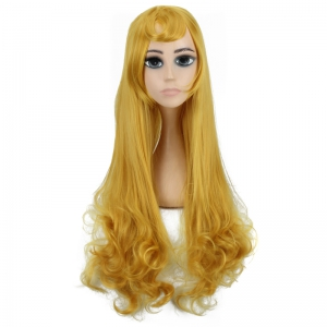 Long Side Bang Tail Curly Fairy Cosplay Synthetic Wig -