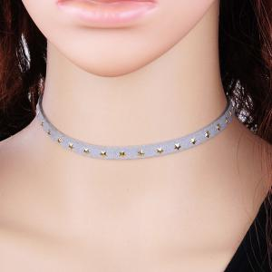 Star Velvet Choker Necklace - LIGHT GRAY