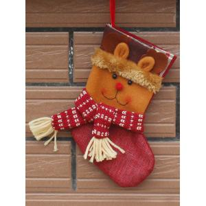 Santa Present Stocking Sock With Deer Patern Christmas Decoration - Yellow