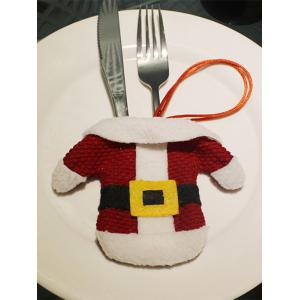 Christmas Party Table Decor Santa Clothes Tableware Holder Bag