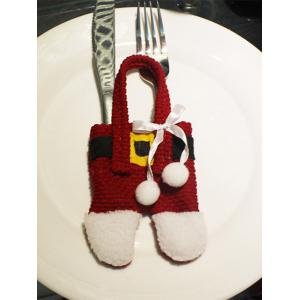 Christmas Party Table Decor Santa Pants Tableware Holder Bag - Red With White - 80