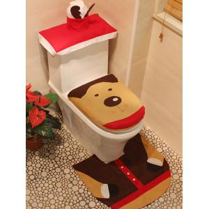 3PCS Christmas Deer Bathroom Toilet Closestool Cover Floor Mats