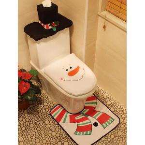 3PCS Christmas Supplies Snowman Bathroom Toilet Closestool Cover Floor Mats - White