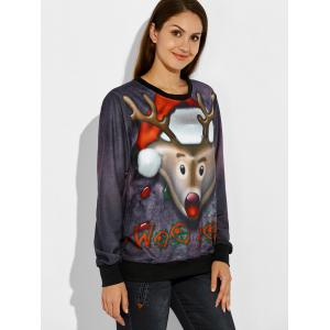 Christmas 3D Reindeer Print Sweatshirt - DEEP GRAY XL