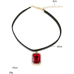 Rounded Rectangle Rhinestone Choker Necklace -