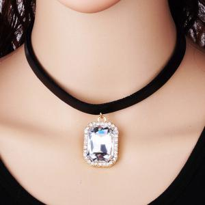 Rounded Rectangle Rhinestone Choker Necklace