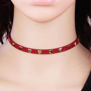 Heart Rivet Velvet Choker Necklace