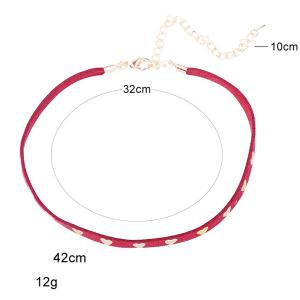Heart Rivet Velvet Choker Necklace - CERISE