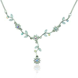 Floral Leaf Rhinestone Pendant Necklace -