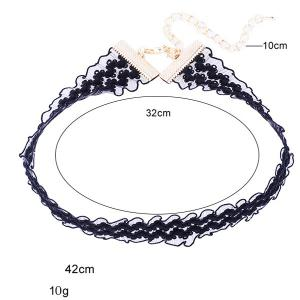 Pleated Lace Floral Choker Necklace - BLACK