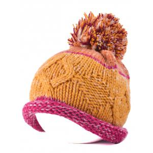 Multi Color Knit Ball Rolled Edge Beanie - Cerise
