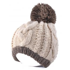 Twist Knit Double Color Ball Beanie - Off-white
