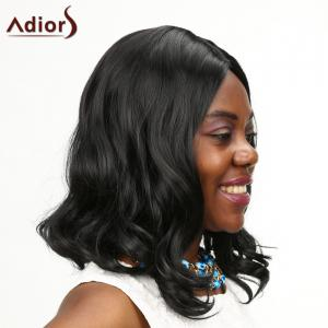 Adiors Medium Shaggy Centre Parting Wavy Synthetic Wig - BLACK