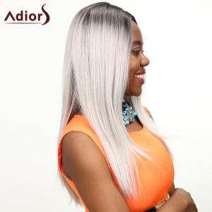 Long Ombre Middle Parting Natural Straight Synthetic Wig -