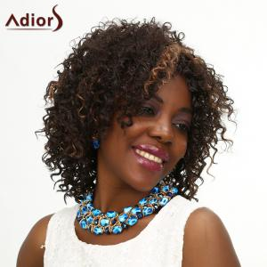 Adiors Medium Middle Parting Kinky Curly Highlight Synthetic Wig - COLORMIX