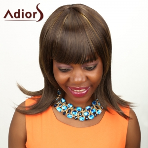 Adiors Medium Neat Bang Highlight Straight Synthetic Wig - COLORMIX