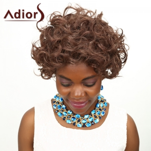 Adiors Short Curly Shaggy High Temperature Fiber Wig - COLORMIX