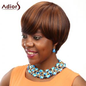 Adiors Short Straight Bob Oblique Bang Colormix Synthetic Wig