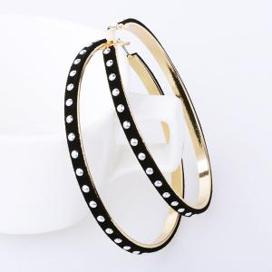 Big Rivet Velvet Hoop Earrings - Black - 5xl