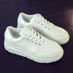 Breathable Tie Up PU Leather Athletic Shoes - WHITE 39