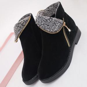 Flat Heel Zipper Round Toe Ankle Boots -