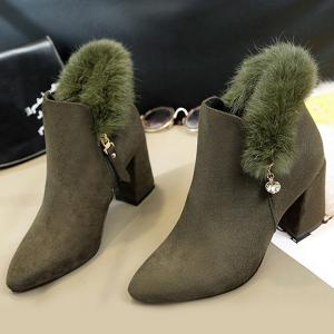 Pointed Toe Rhinestone Faux Fur Ankle Boots - ARMY GREEN 39