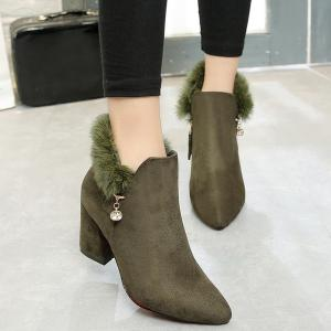 Pointed Toe Rhinestone Faux Fur Ankle Boots - Army Green - 37