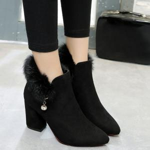 Pointed Toe Rhinestone Faux Fur Ankle Boots - Black - 38