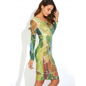 Long Sleeve Geometric Print Slimming Dress -