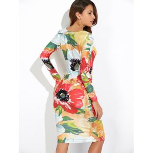 Long Sleeve Floral Print Slimming Dress -