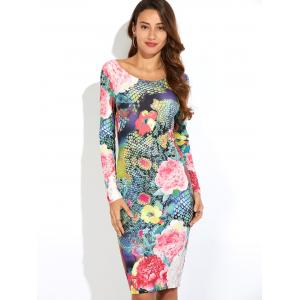 3D Floral Print Bodycon Dress with Long Sleeve -