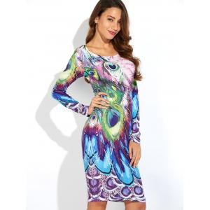 Peacock Feather Print Long Sleeve Dress -