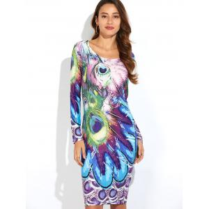 Peacock Feather Print Long Sleeve Dress - BLUE 2XL