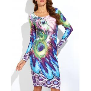 Peacock Feather Print Long Sleeve Dress - Blue - M