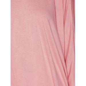 Hooded Batwing Sleeve High Low T-Shirt - PINK XL