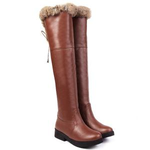 PU Leather Fuzzy Thigh Boots - BROWN 39