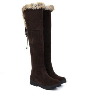 Suede Fuzzy Thigh Boots -