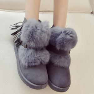Buckle Faux Fur Fringe Snow Boots -