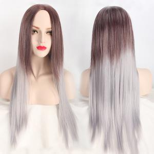 Long Middle Part Straight Ombre Color Synthetic Wig