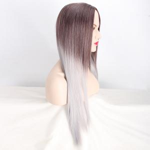 Long Middle Part Straight Ombre Color Synthetic Wig - COLORMIX