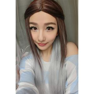 Long Middle Part Color Mixed Straight Synthetic Wig -